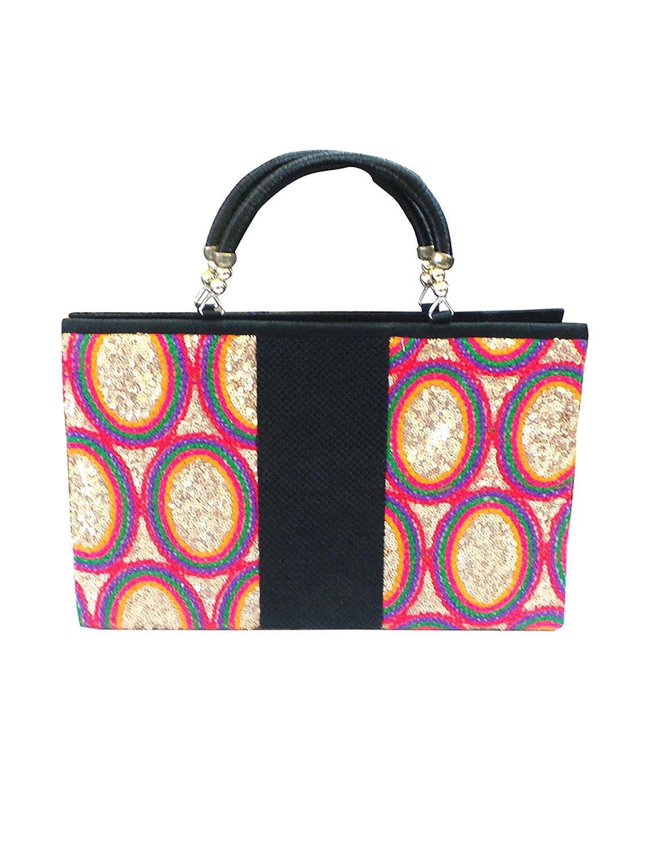 Bhamini Black Rainbow Sequins Handbag....