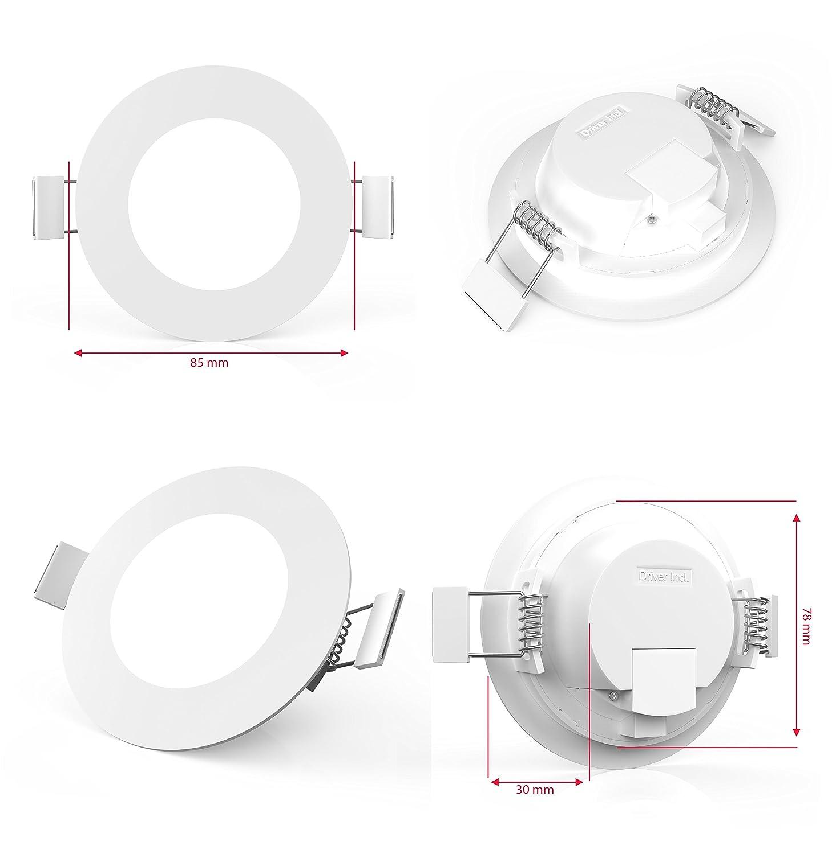 profondeur dencastrement 30mm 5x5W /Ø 85 mm B.K.Licht lot de 5 spots encastrables ultra minces platines LED int/égr/ées blanc chaud IP23 230V /éclairage plafond