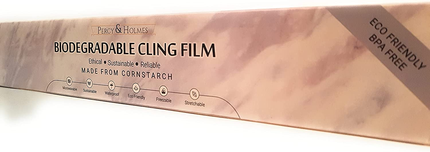 """Percy & Holmes Biodegradable Cling Film 100% Compostable Wrap 12"""" Wide by 262 feet Eco Friendly Ethical Sustainable Reliable Alternative to Plastic Wrap with Slide Cutter"""