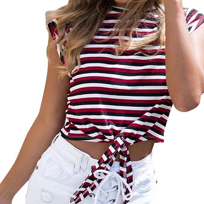 Cloom Damen Top Sexy Partymode Oberteil Verknotet Slim Fit Shirt Damen  Modisch Sommer Kurzarm Retro Bluse Damen Trägershirts Hoch Hals High Neck  Sommer Slim ... f01c5a753a
