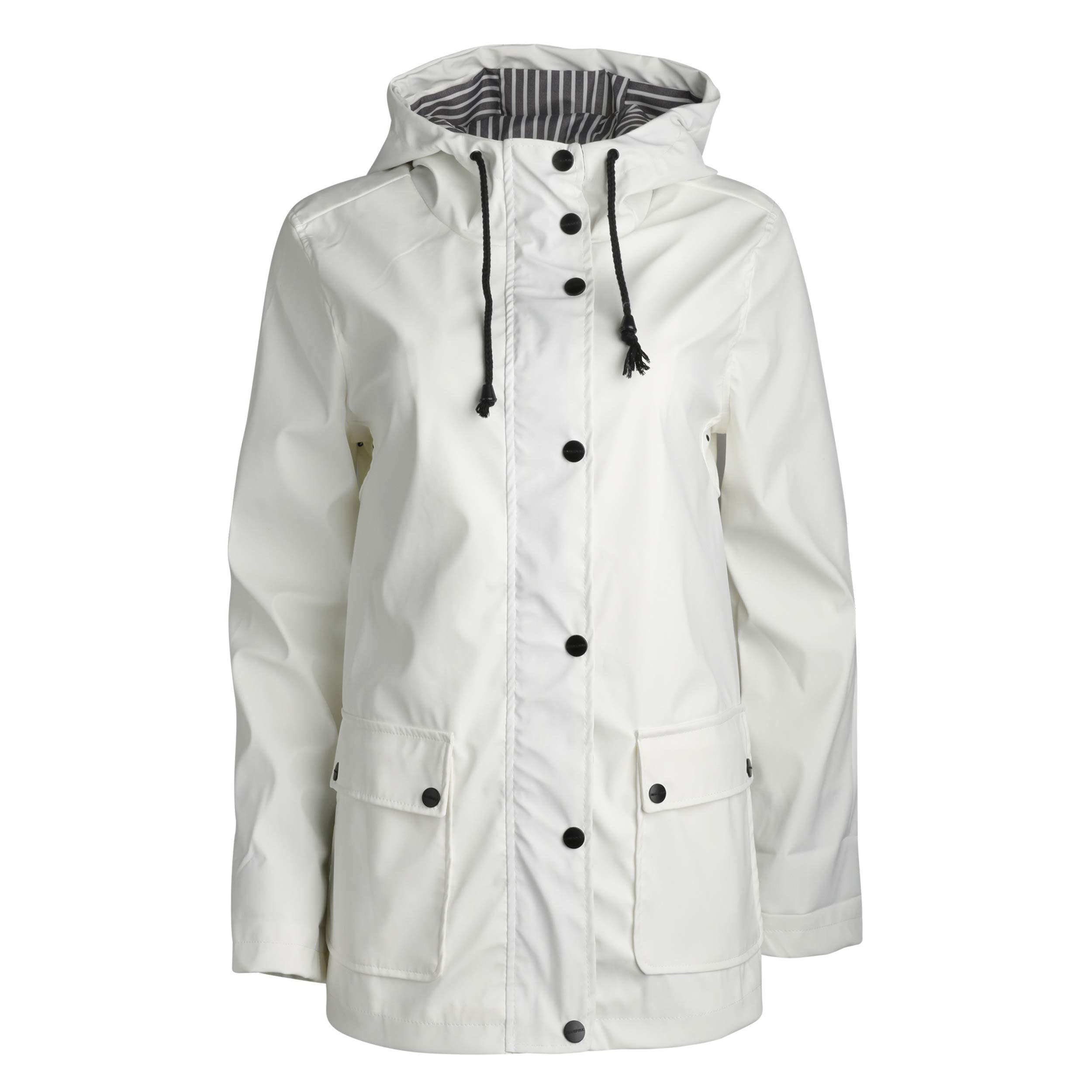 Urban Republic Women's Lightweight Vinyl Hooded Raincoat Jacket, White, Medium'' by Urban Republic