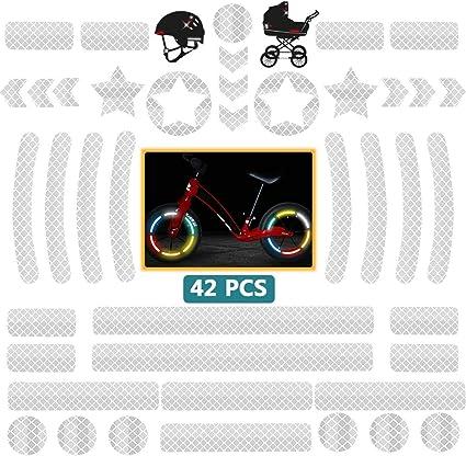 DZSEE Pegatinas Reflectantes, Pegatinas para Cascos de Moto, 42 Piezas Pegatinas Reflectantes Kit, Adhesivo Universal para Bicicleta/Cochecito/Casco/Moto/Motocicleta, Visibilidad de Noche (Blanco): Amazon.es: Coche y moto