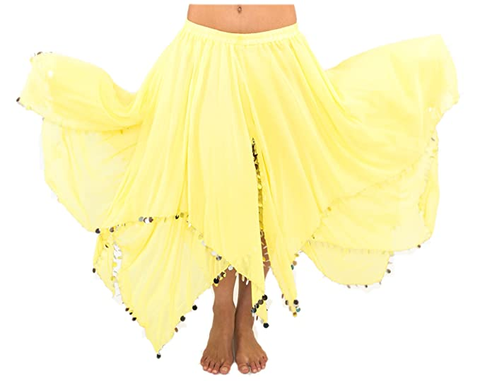 Turkish Emporium falda danza oriental (amarillo plateado): Amazon ...