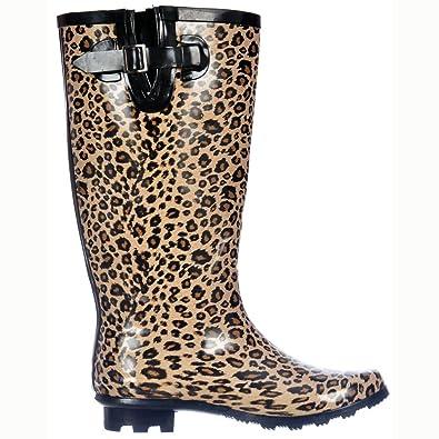 3cde8aea4592 Onlineshoe Women's Flat Wide Calf Wellie Wellington Festival Rain Boots -  Leopard Print UK 8 -