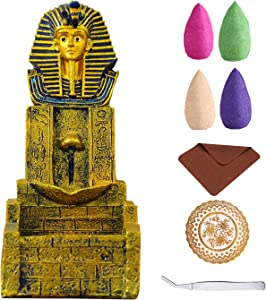 Backflow Incense Burner Pharaoh Incense Holder Waterfall for Aromatherapy Ornament Home Decor with 80 x Backflow Incense Cones, 2 x Mat, 1 x Tweezers Set