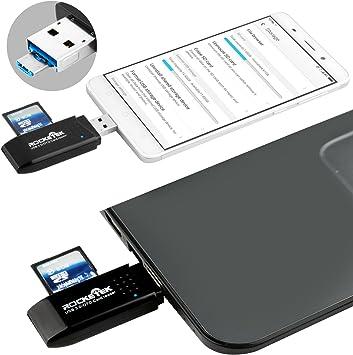 Rocketek USB 3.0 Memory Card Reader 2 Slots Card Reader for SD,TF,micro SD SDXC