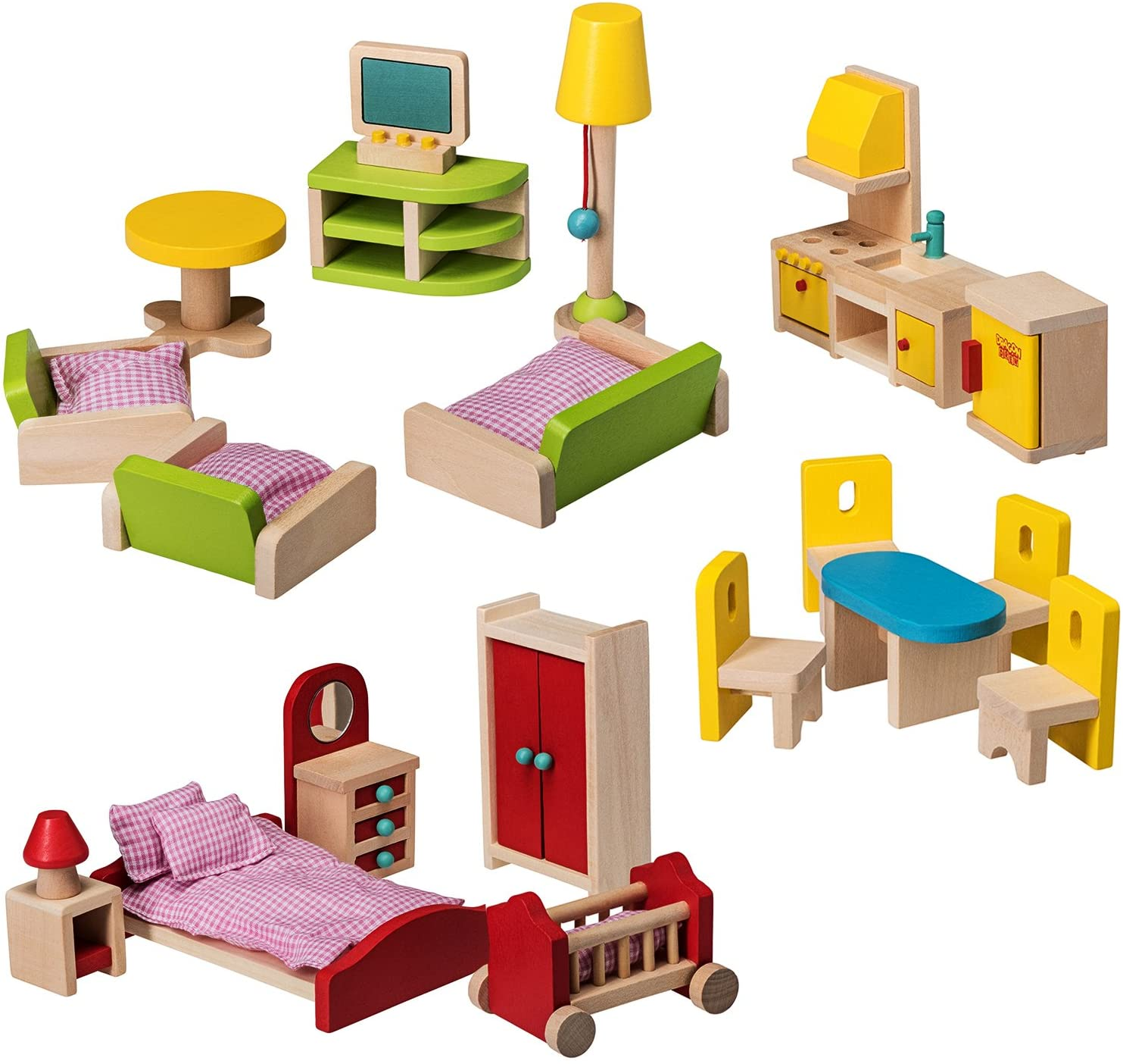 Dragon Drew Wooden Dollhouse Furniture Set - 15 Piece Kit - Living Room,  Bedroom and Kitchen Accessories, 15% Natural Wood, Nontoxic Paint, Smooth