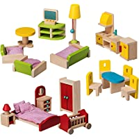 Dragon Drew Wooden Dollhouse Furniture Set - 27 Piece Kit - Living Room, Bedroom and Kitchen Accessories, 100% Natural Wood, Nontoxic Paint, Smooth Edges