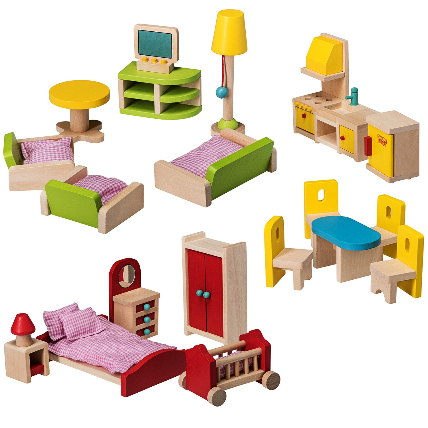 Dragon Drew Wooden Dollhouse Furniture Set - 27 Piece Kit - Living Room, Bedroom and Kitchen Accessories, 100% Natural Wood, Nontoxic Paint, Smooth Edges by Dragon Drew