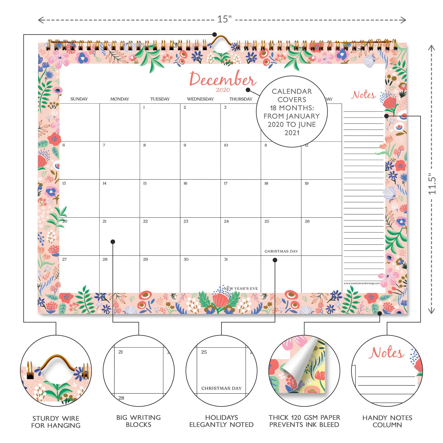 Floral Border Monthly Planner Sweetzer /& Orange 2020 Calendar 11.5 x 15 Inch Hanging Wall Calendar Daily Wall Calendars for Office Organization 18 Month Office or Family Wall Calendar 2020-2021