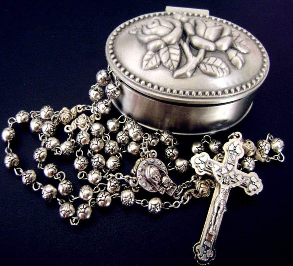 elegantmedical Handmade Silver Rose Beads Catholic 5 Decade Rosary case Cross Gift Box Italy Crucifix
