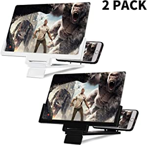 Cell Phone Screen Magnifier, 2 Pcs 12 inch Foldable Screen Amplifiers for Smart Phone, Enlarge Screens Stand Holder for Watching Movie, Video, Reading, and Playing Games (Pack of 2, Black & White)