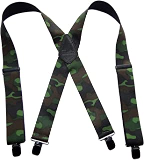 """product image for Holdup Suspender Company's 2"""" Wide Woodland Camouflage Hunting Suspenders with jumbo Patented No-slip Clips"""