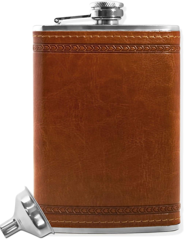 Outdoor saxx®–Petaca de acero inoxidable, elegante piel Diseño | bolsillos de alta calidad Botella, Whiskey, Chupito | 260ml Tornillo de cierre. regalo perfecto