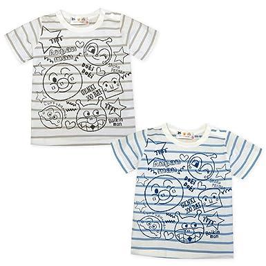 fd1d90886f2f2 (サックス 95cm) ベビー服 男の子 Tシャツ 半袖 アンパンマン UVカット 綿100%