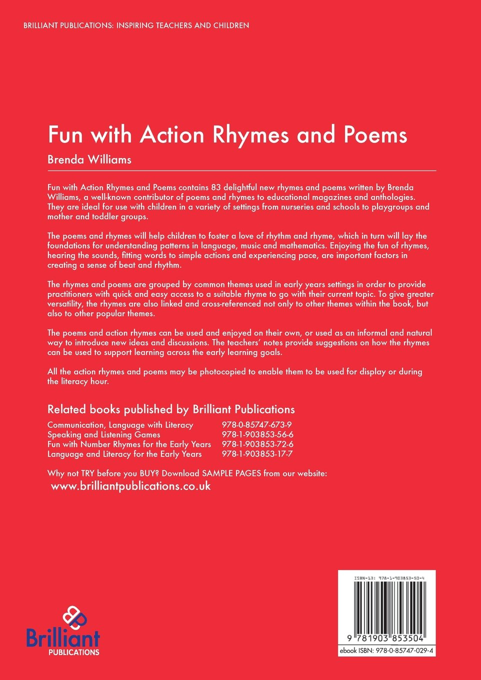 fun with action rhymes and poems williams brenda
