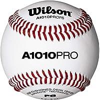 Wilson WTA1010BPROFS Pelota de Béisbol, A1010 Baseball Pro Series Flat Seam, Cubierta de Cuero de Plena Flor, Blanca , 1…