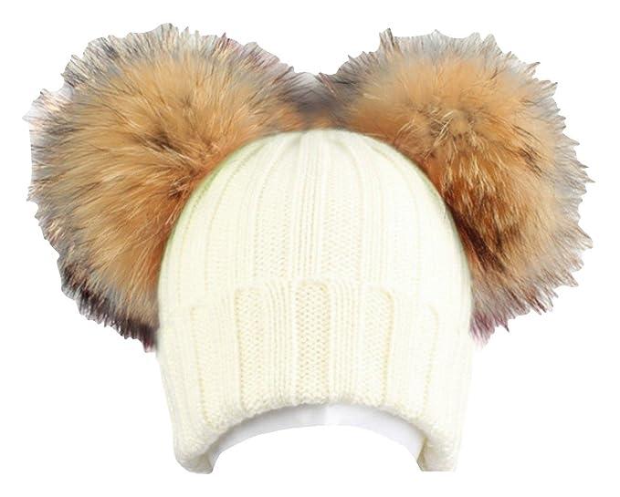 BrillaBenny Cappello Cuffia Bianco Doppio PON PON in Pelliccia MURMASKY 1-3  Anni Bimba Cappellino Lana Hat White Fur Raccoon Baby Kids Double Pom Poms  ... 37fa2b6ed8da
