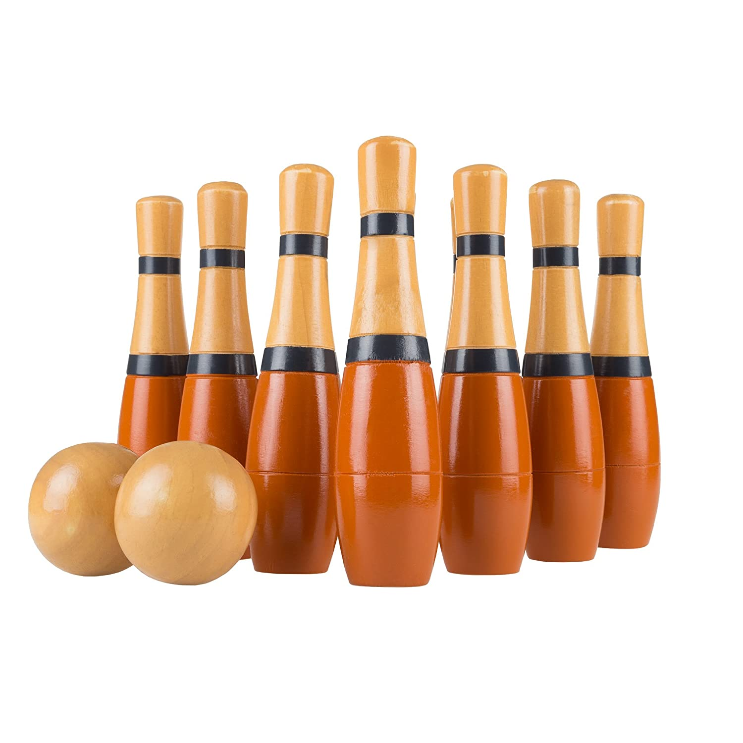 "CDM product Hey! Play! Lawn Bowling, 8"" Tall Wooden Lawn Game, Indoor & Outdoor Toy, Adults & Kids, Orange/Gray big image"