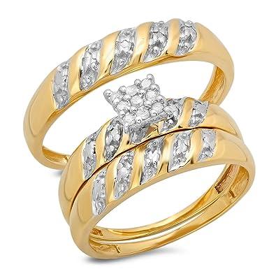 Juego de tres anillos para boda de oro amarillo de 10 ct con ...