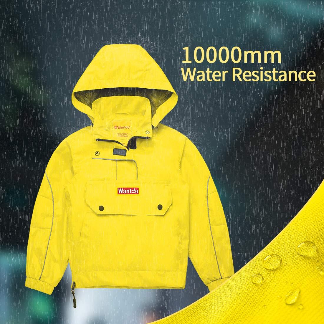 Wantdo Boys Girls Waterproof Rain Coat Hood Lightweight Jacket