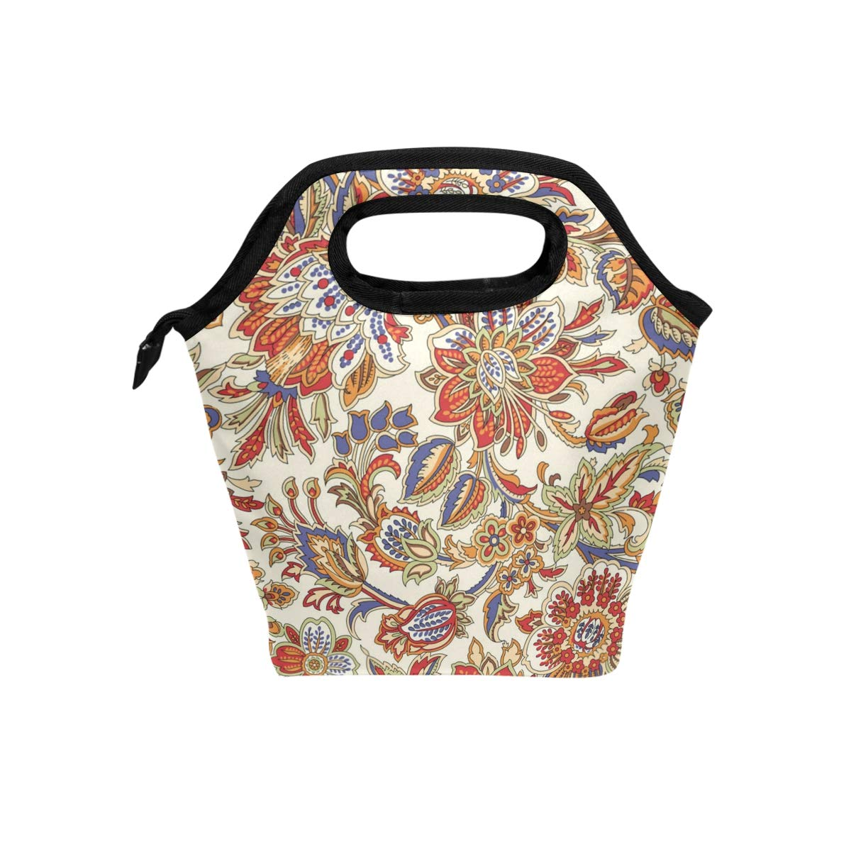 Lunch Box Japanese Flower Illustration Womens Insulated Lunch Bag Kids Zipper Lunch Tote