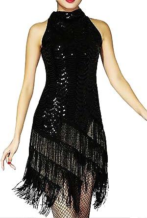 URqueen Women Sequin Embellished Fringe Dance Mini Dress Black Small