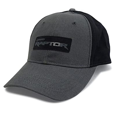 Ford F-150 Raptor Washed Canvas Gray Black Baseball Cap: Automotive
