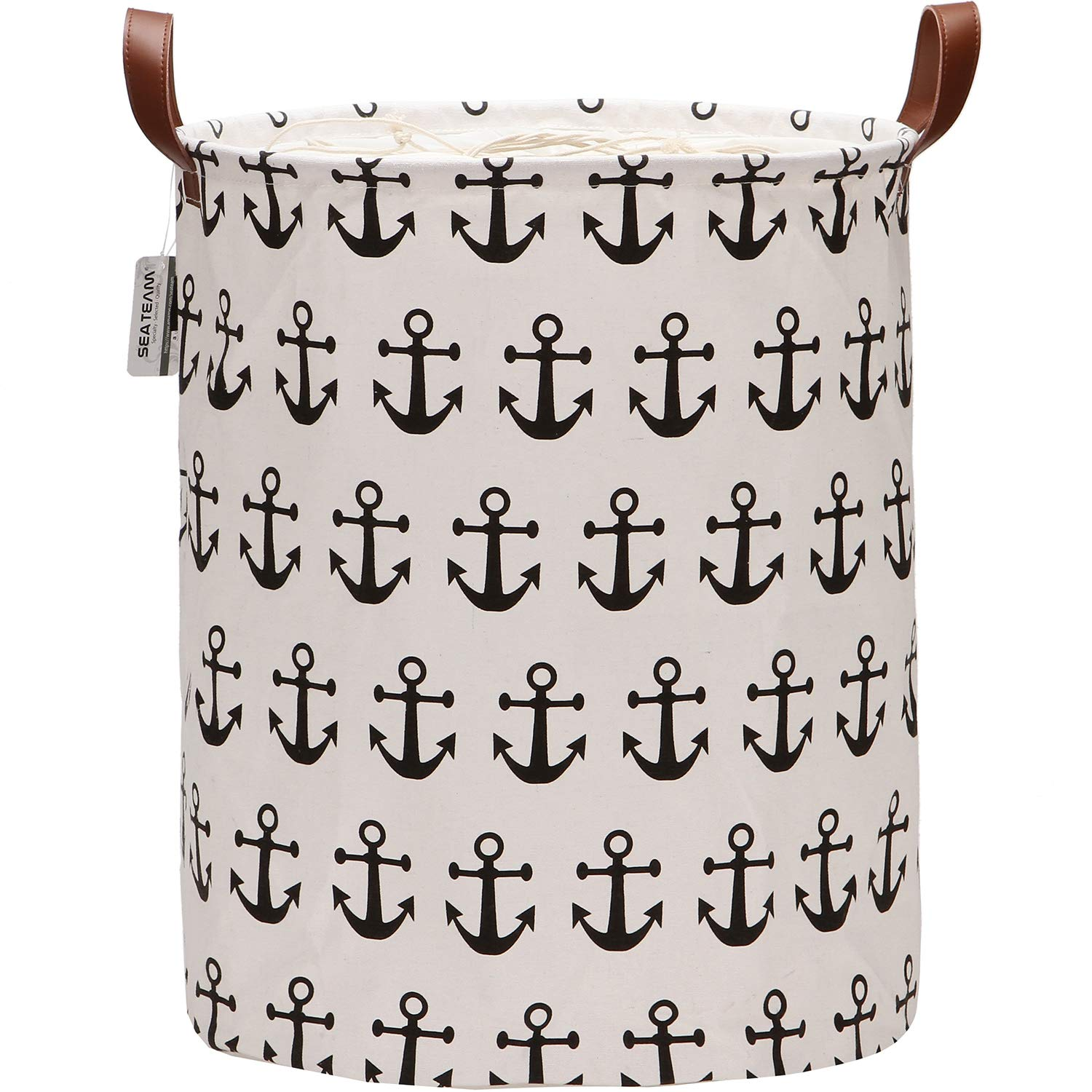 Sea Team Large Size Canvas Laundry Hamper Collapsible Storage Basket with Nautical Anchor Pattern, 19.7 by 15.7 inches, Black
