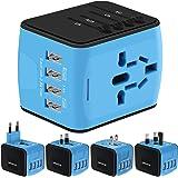Adaptador Enchufe de Viaje HUANUO Universal Enchufe Adaptador Internacional con Dos Puertos USB para Más de 150Países, por ejemplo, Estados Unidos, Australia, UK, Europa, etc., 100–240V AC, con Seguridad Integrada, Adaptador de Viaje con 4USB Carga