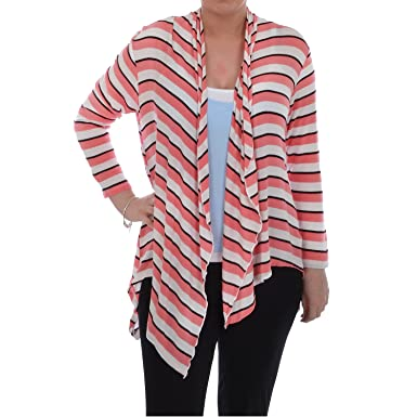 Tesco F&F Womens Striped Long Line Waterfall Cardigan - Coral - 20 ...