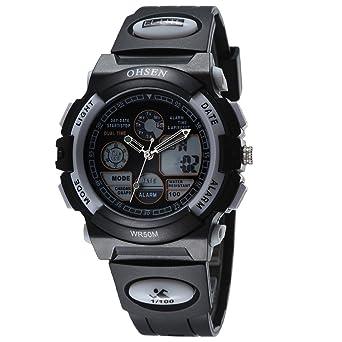 OHSEN Reloj Hombre Mujer Reloj De Moda De Deportivo Multifunción Cronómetro Impermeable Digital Con Calendario - Negro / Blanco: Amazon.es: Relojes