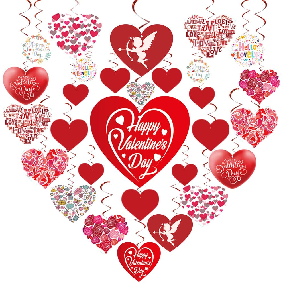 GOER Valentine's Day Party Decorations,30 Pcs Hanging Swirls with 1000 Pcs/0.35 oz Heart Confetti Valentine's Day Party Supplies by GOER