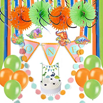 Dinosaur Birthday Decorations 1st Boy Girl Kit ONE Crepe Paper Streamers