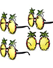 Chinco 4 Paires de Lunettes de Soleil Ananas Lunettes en Forme d'Ananas Parti Décoratives Lunettes de Soleil Tropicales Hawaïennes pour Articles de Fête sur Le Thème de l'Été