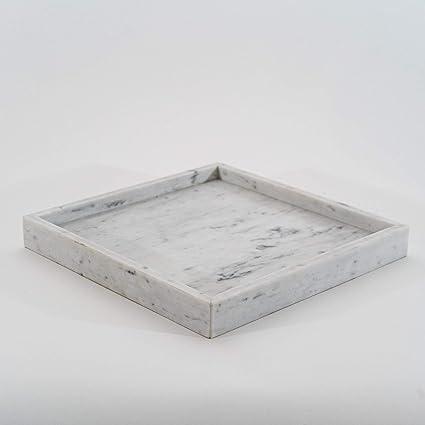 Amazon Com Square White Marble Decorative Tray Home Kitchen