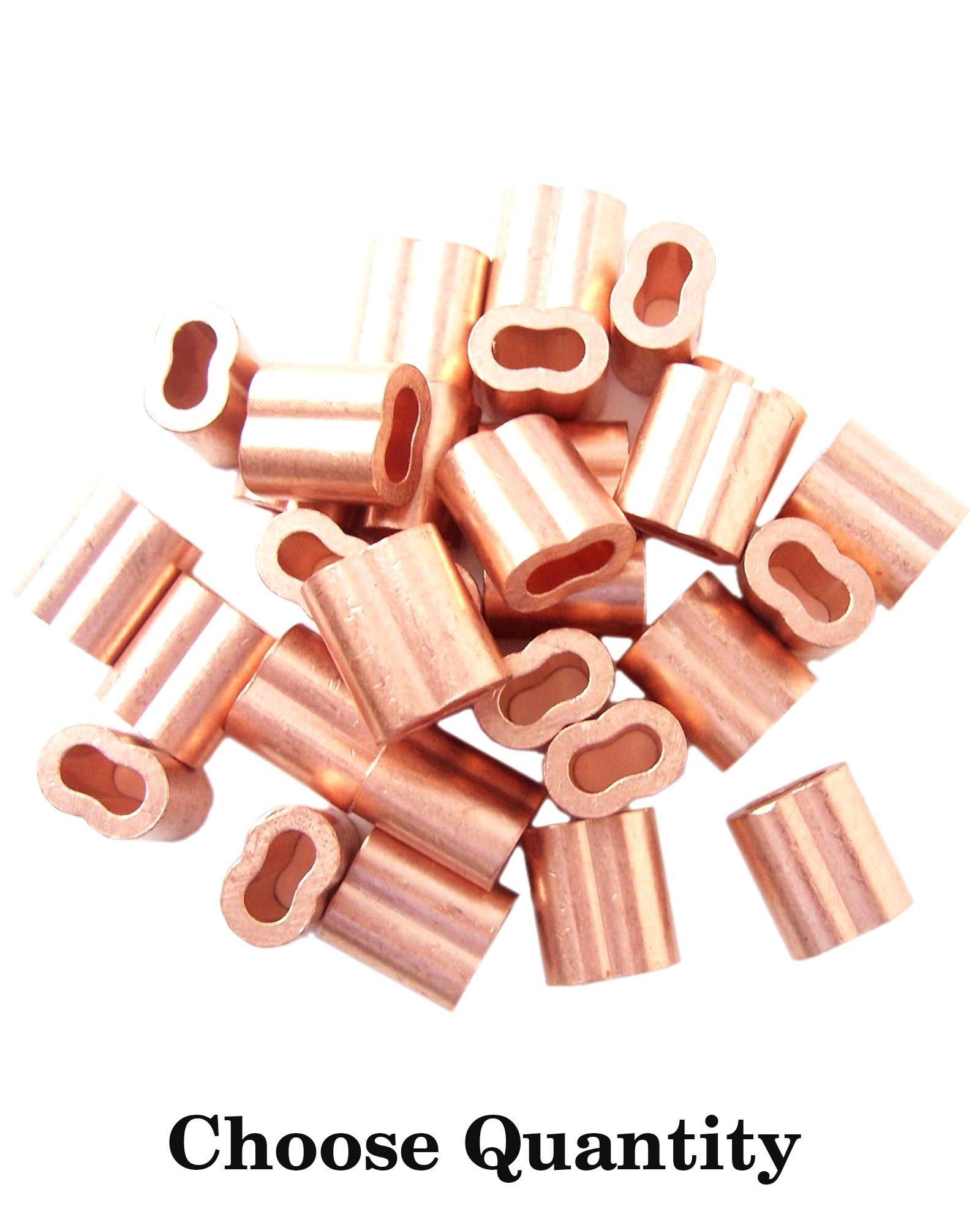 1/16″ Copper Swage Sleeves - Cable Sleeves Cable Crimp Sleeves Crimping Loop Sleeve for 1/16'' Diameter Wire Rope and Cable Wire Rope Crimp Sleeves Loop Sleeve Cable Crimp (200)