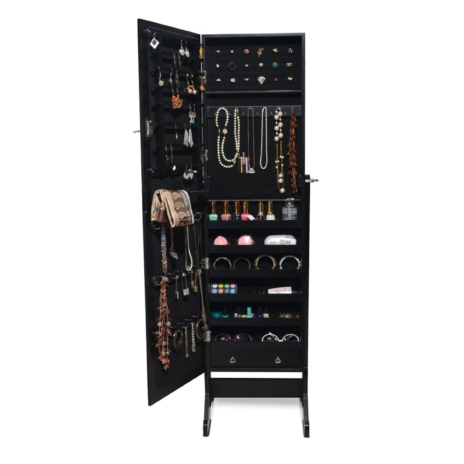 BTEXPERT Premium Stylish Wooden Jewelry Armoire Cabinet Stand Safe Lock Organizer Storage Cheval Mirror Rings, Necklaces, Bracelets Black by BTEXPERT