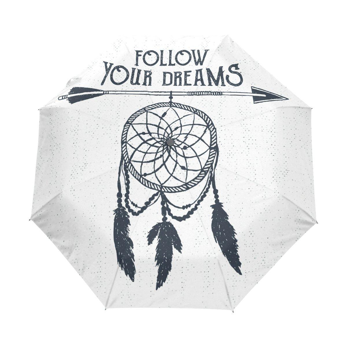 deyyaドリームキャッチャーフェザーホワイト防風旅行傘自動的に開く閉じる軽量コンパクトゴルフ傘 B075GLR1R6