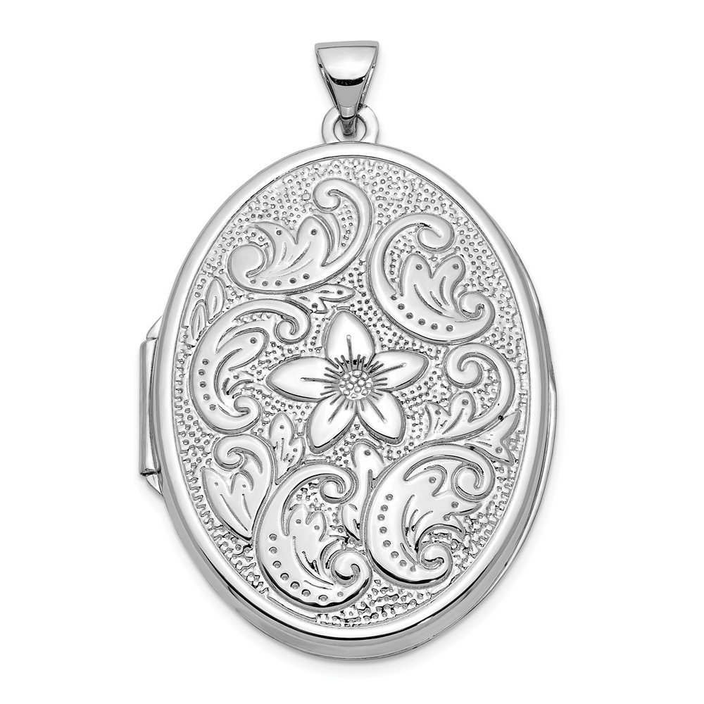 14k White Gold 32mm Oval Flower Scrolls Photo Pendant Charm Locket Chain Necklace That Holds Pictures Fine Jewelry Gifts For Women For Her