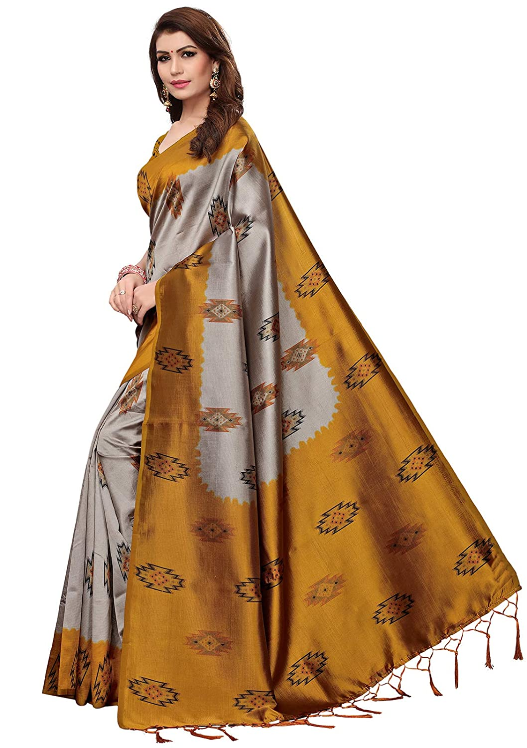 88e33e89029 Ishin Women s Art Silk Grey   Mustard Yellow Printed Saree With Tassels  Including Blouse Piece  Amazon.in  Clothing   Accessories