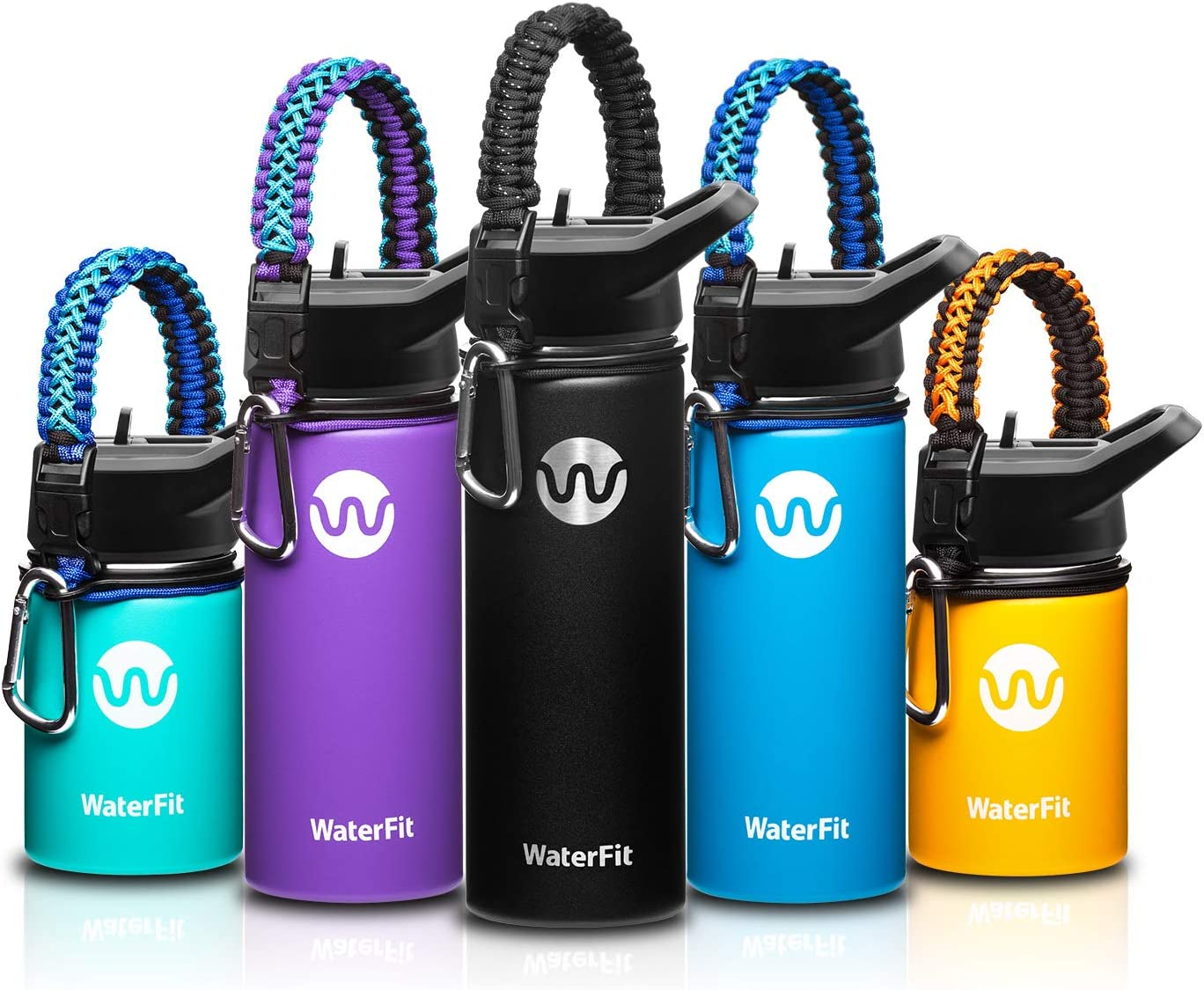 WaterFit Vacuum Insulated Water Bottle - Double Wall Stainless Steel Leak Proof BPA Free Sports Wide Mouth Water Bottle - Travel Straw Lid - 12oz 16oz 20oz -5 Colors with Paracord Handle