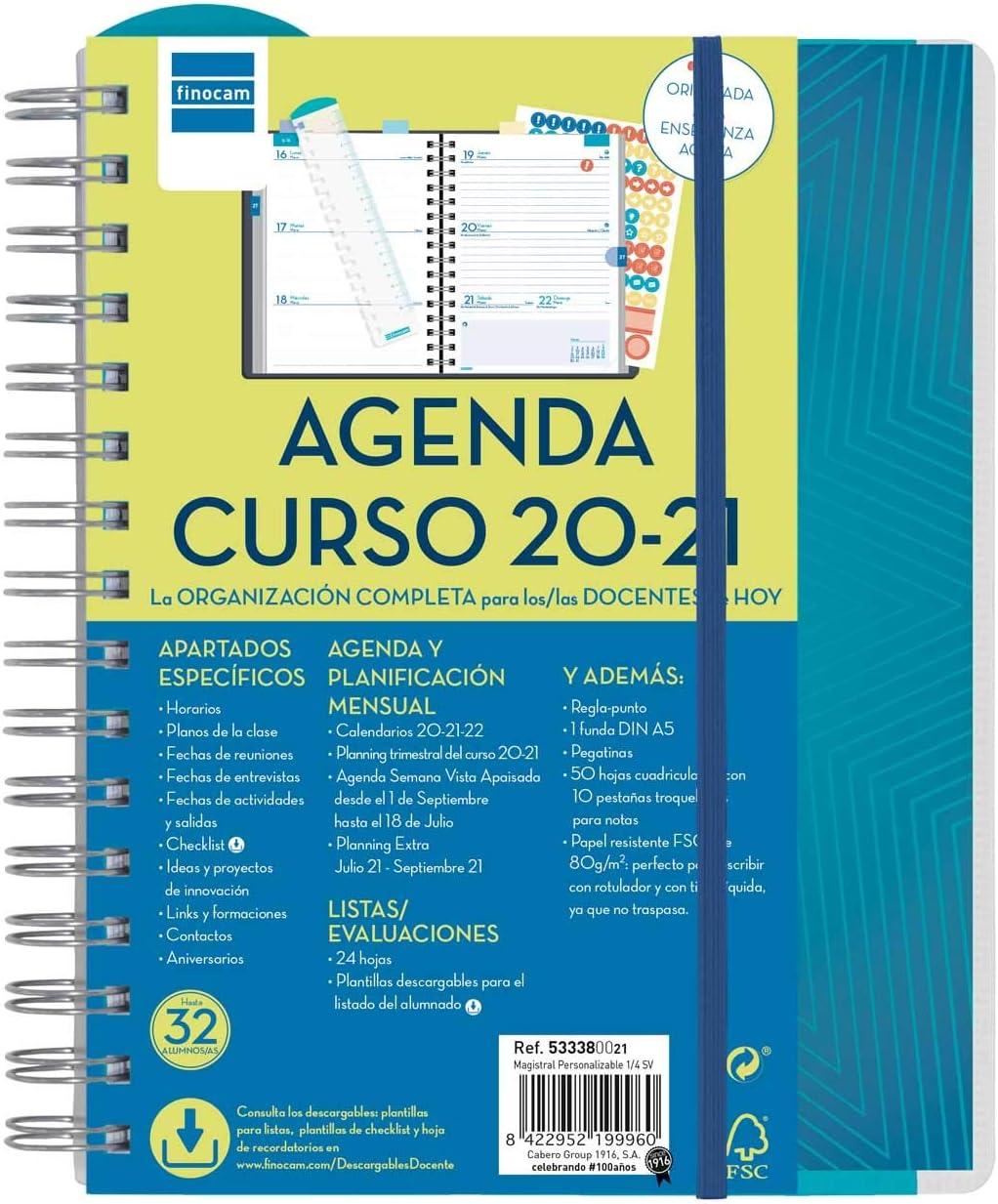 Finocam - Agenda Docente 2020-2021 Cuarto - 155x212 Semana Vista Apaisada Magistral Personalizable Español