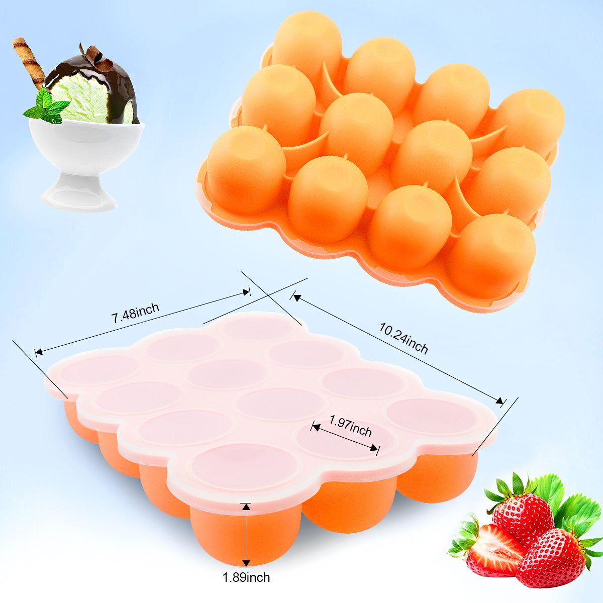 Amazon.com : Silicone Freezer Tray for Baby Food Storage 2 Pack- Reusable Baby Food Storage Containers - Vegetable & Fruit Purees and Breast Milk - BPA FREE ...