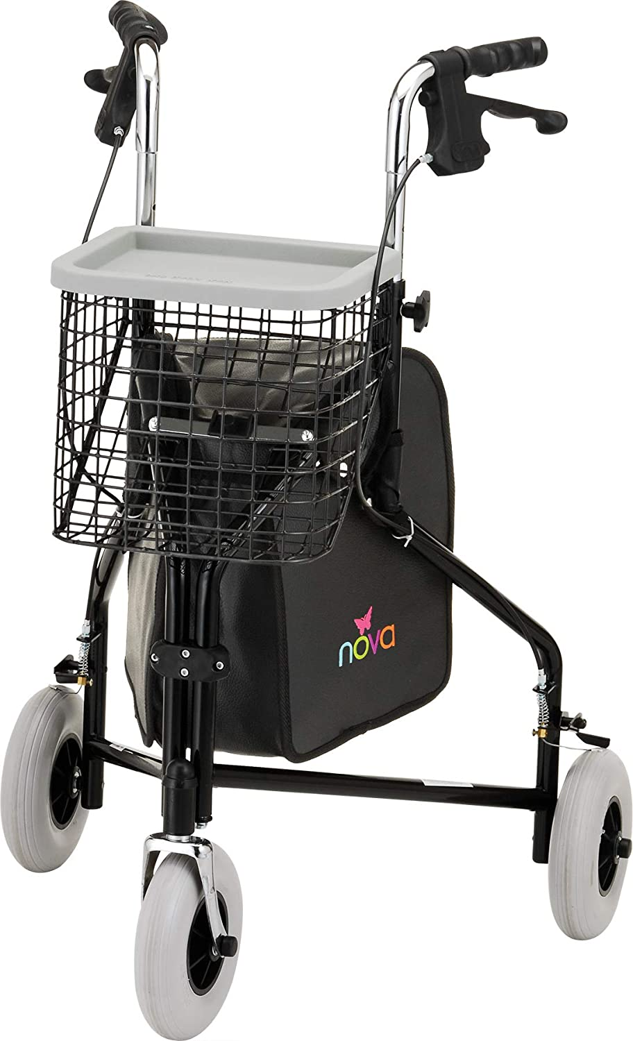 B0016JDB8W NOVA Traveler 3 Wheel Rollator Walker, All Terrain 8 Wheels, Includes Bag, Basket and Tray, Black 71qGXWnpBsL