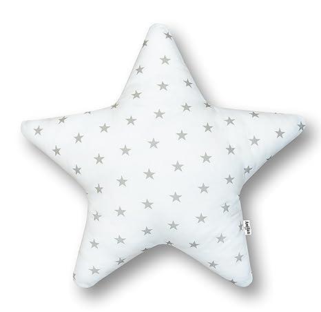AMI Lian® Cojín Estrella estrellas blanco (A3) – Cojín (tejido de rizo Zambaiti aprox. 60 cm
