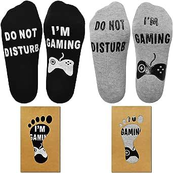 Tuopuda Do Not Disturb I'm Gaming Navidad Carta del día de San Valentín Imprimir Divertido Novedad Calcetines cómodos y suaves para el tobillo Calcetines Divertidos