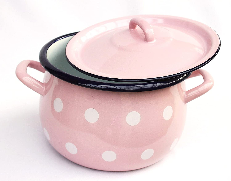 Emaille Topf dandibo topf 3 7 l kochtopf 502w rosa mit weißen punkten 20 cm