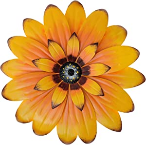 """Aboxoo 13"""" Yellow Daisy Metal Layered Floral Home Wall Art Sculptures for Bathroom Livingroom Bedroom or Porch Patio Colorful Wall Decor"""
