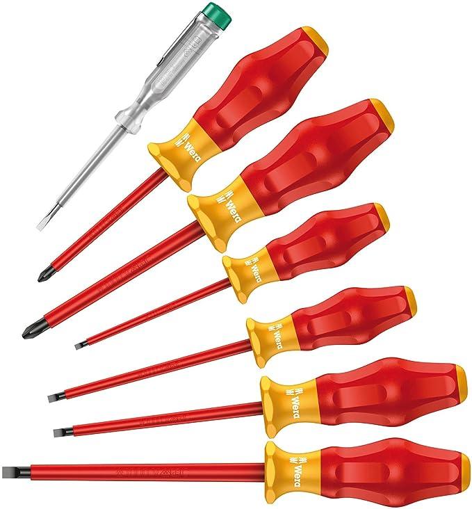 Wera WER031575 Juego de Destornilladores Aislados VDE y Buscapolos con 7 Piezas & Knipex 95 05 155 SB Tijeras de Electricista Azul y Rojo 15.5 cm